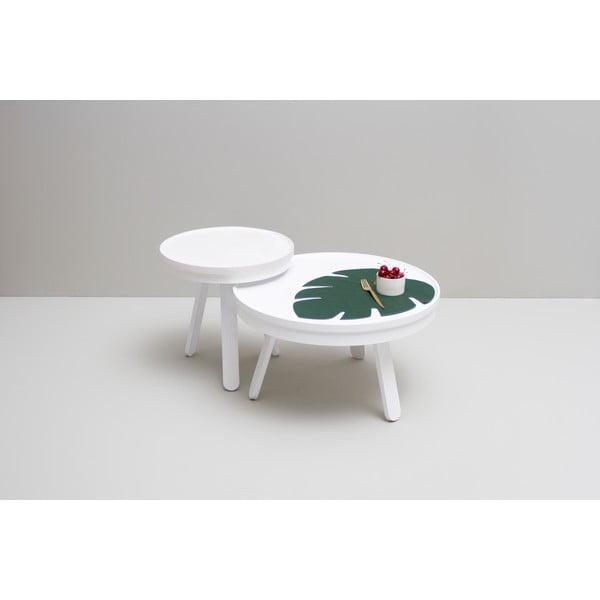 Bílý odkládací stolek z jasanového dřeva s úložným prostorem Woodendot Batea M