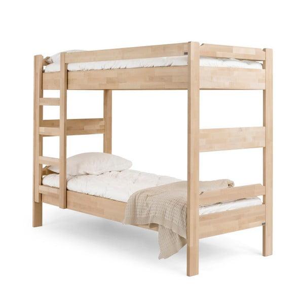 Ručne vyrobená poschodová posteľ z masívneho brezového dreva Kiteen Kuusamo, 80 × 200 cm