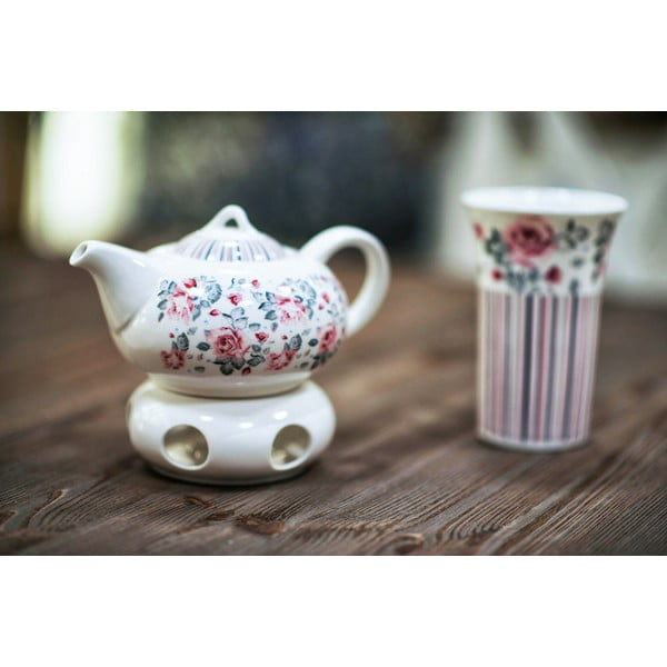 Porcelánový hrnek se sítkem Duo Gift Růžička, 250 ml