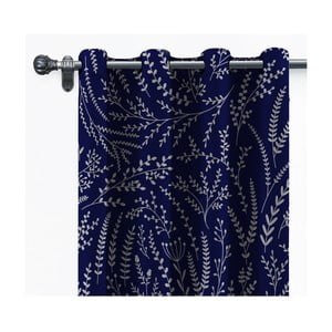 Tmavě modrý závěs ze sametu Velvet Atelier, 140 x 260 cm