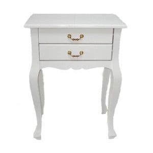 Odkládací stolek Lacquered White, 52x35x72 cm