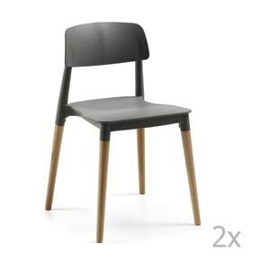 Sada 2 černých židlí La Forma Lejeir