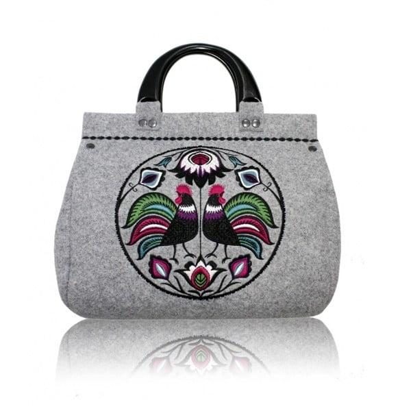 Plstěná vyšívaná kufříková kabelka do ruky Folk Kohoutí, menší
