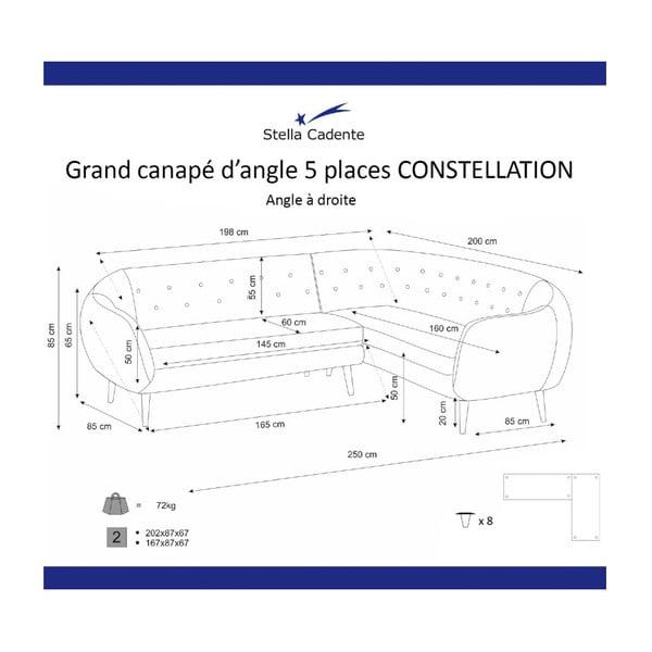 Kremová rohová trojmístná pohovka Scandi by Stella Cadente Maison Constellation, pravý roh
