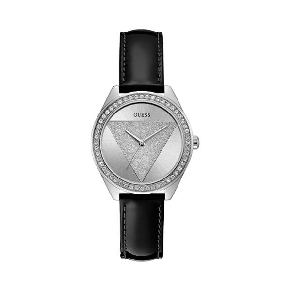 Dámske hodinky s čiernym remienkom z ušľachtilej kože Guess W0884L3