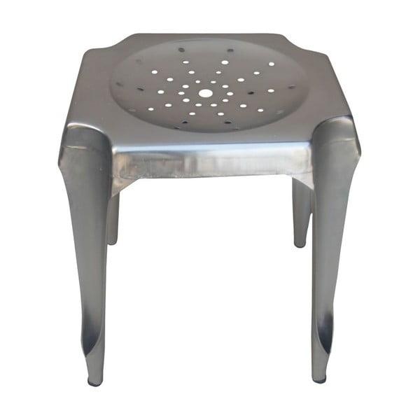 Kovová stolička Tabouret, stířbrná