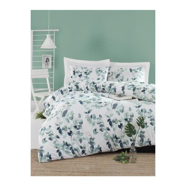 Lenjerie de pat cu cearșaf din bumbac ranforce, pentru pat dublu Mijolnir Sabine Green, 160 x 220 cm