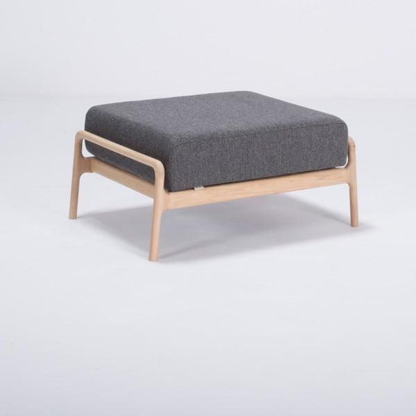 Tmavosivá podnožka s konštrukciou z dubového dreva Gazzda Fawn