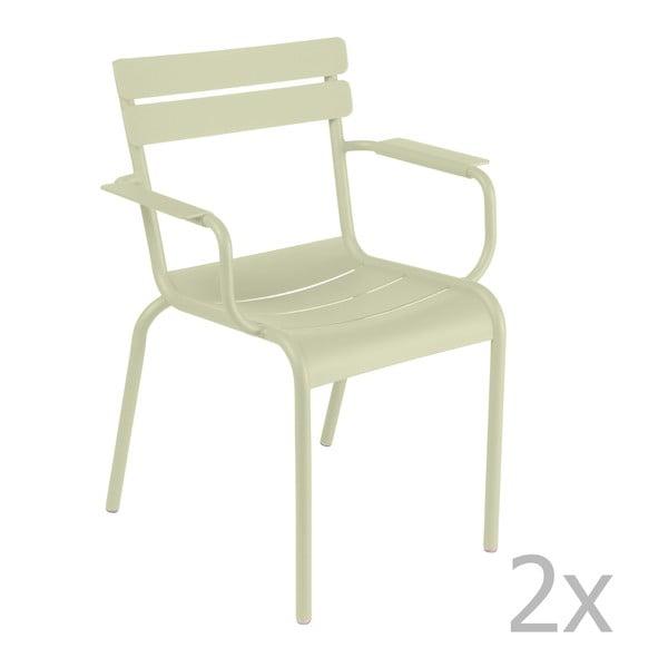 Sada 2 zelenkavých židlí s područkami Fermob Luxembourg