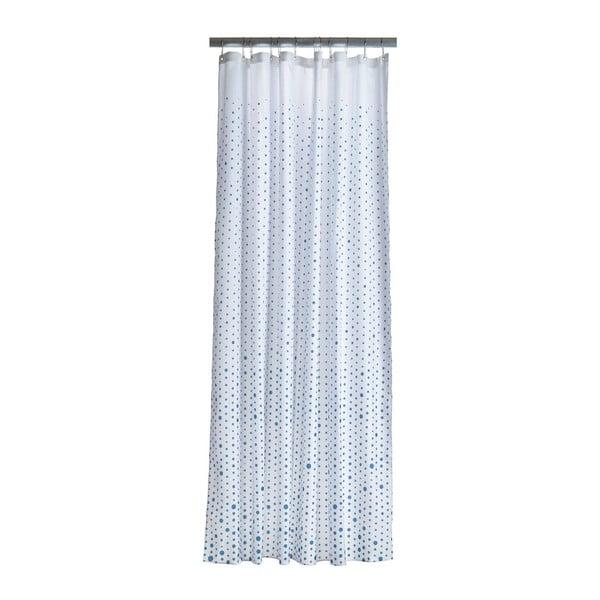 Bílý sprchový závěs s detaily v azurově modré barvě Zone Drops