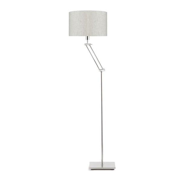 Šedá volně stojící lampa se světle krémovým stínidlem Citylights Dublin