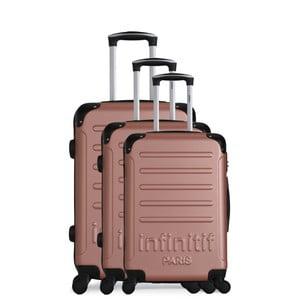 Sada 3 cestovních kufrů v barvě růžového zlata na kolečkách Infinitif Horten-A