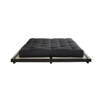 Pat dublu din lemn de pin cu saltea și tatami Karup Design Dock Double Latex Black/Black, 160 x 200 cm