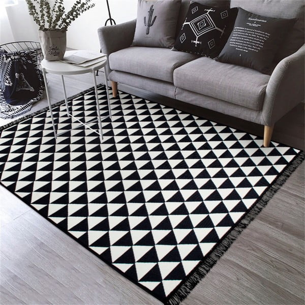 Černobílý oboustranný koberec Homedebleu Apollon, 80 x 150 cm