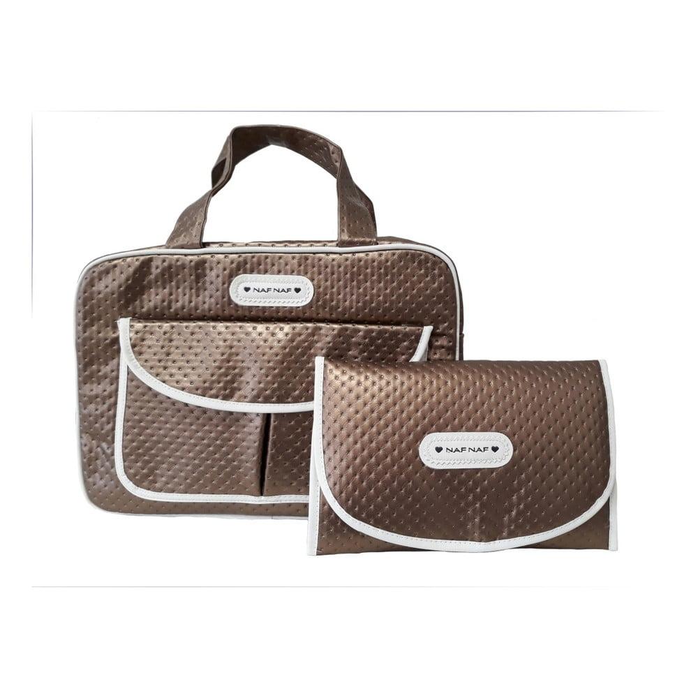 Produktové foto Set hnědé tašky na kočárek a přebalovací podložky Naf Naf Dots