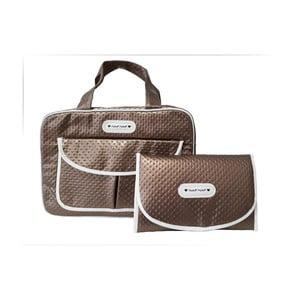 Set hnědé tašky na kočárek a přebalovací podložky Naf Naf Dots
