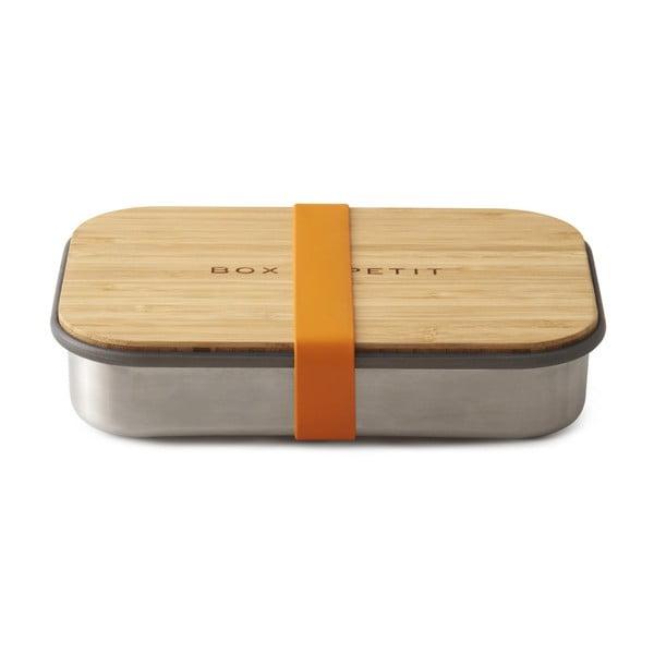Pomarańczowy stalowy pojemnik obiadowy z bambusowym wieczkiem Black + Blum Bamboo, 900 ml