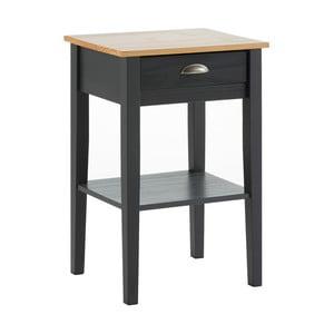 Antracitově šedý noční stolek z masivního borovicového dřeva se zásuvkou Marckeric Jade