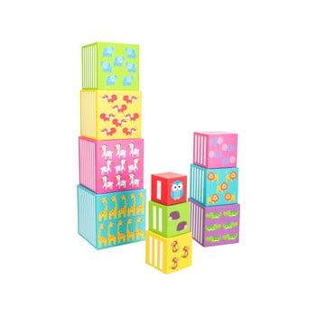 Cuburi stivuibile din lemn pentru copii Legler Wild Animals, 10 buc. de la Legler