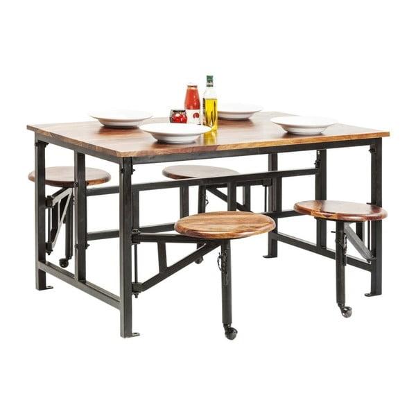 Set stolu a 4 výsuvných stoliček z dřeva palisandru sheesham Kare Design