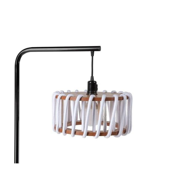 Stojací lampa s černou konstrukcí a malým bílým stínidlem EMKO Macaron