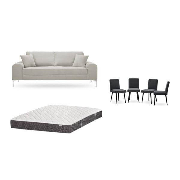 Set canapea crem cu 3 locuri, 4 scaune gri antracit, o saltea 160 x 200 cm Home Essentials
