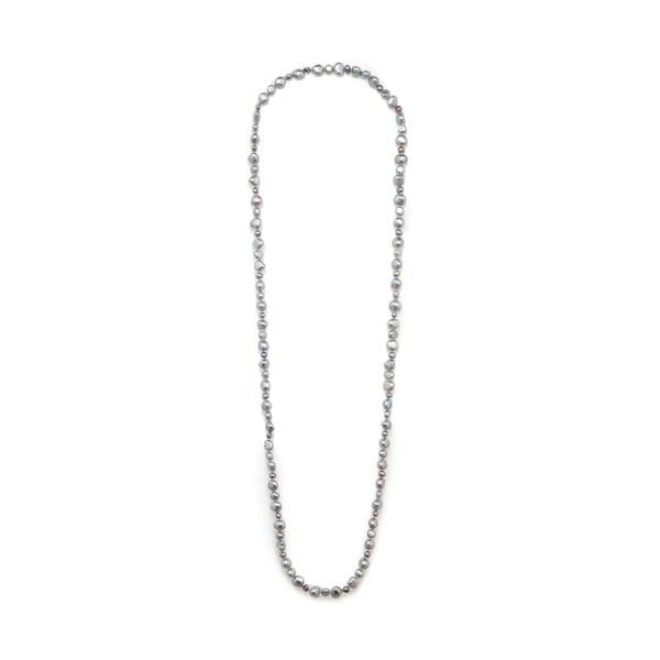 Světle šedý perlový náhrdelník Kyoto Pearl Baroque