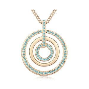 Colier suflat în aur cu cristale albastre Swarovski Elements Crystals Evone