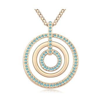 Colier aurit cu cristale albastre Swarovski Elements Crystals Evone de la Swarovski Elements Crystals