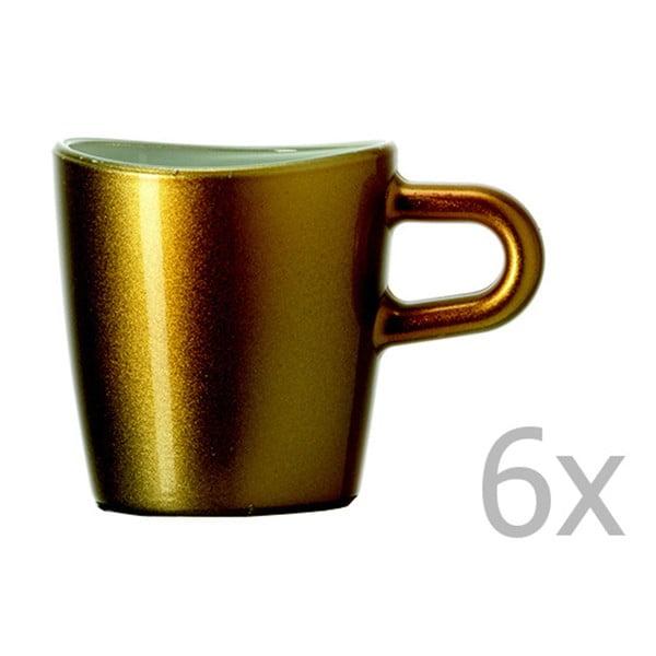 Sada 6 zlatých metalických hrnků na espresso LEONARDO Loop, 75 ml
