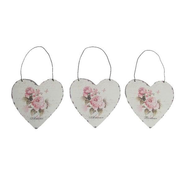 Set 3 dekorativních závěsných srdcí Antic Heart