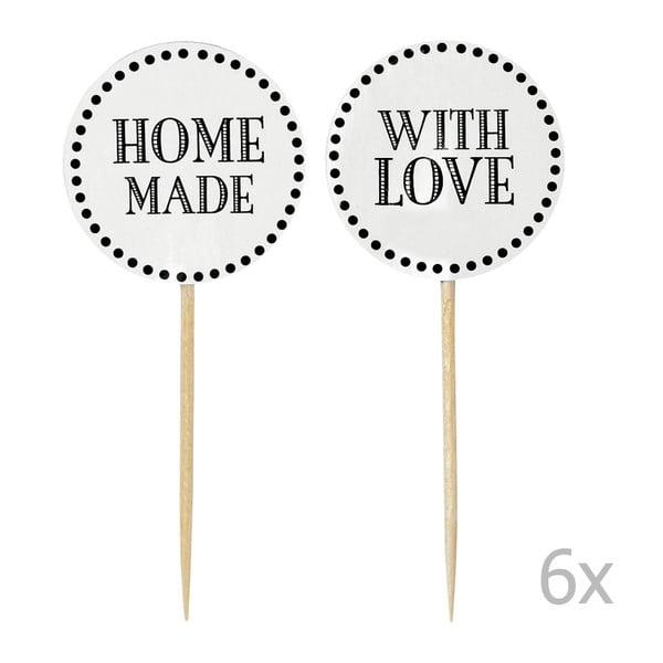 Set 12 decorațiuni pentru tort Miss Étoile Home Made With Love, alb