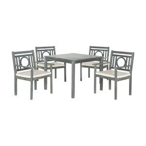 Šedý set dřevěného venkovního stolu a židlí Safavieh Mendoza II