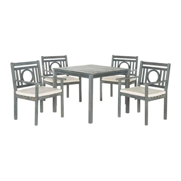 Šedý set dřevěného zahradního stolu a židlí Safavieh Malaga