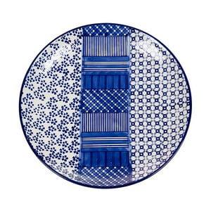 Modrobílý porcelánový talíř Santiago Pons Meknec, ⌀26cm