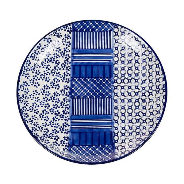 Farfurie din porțelan Santiago Pons Meknec, ⌀ 26 cm, alb - albastru