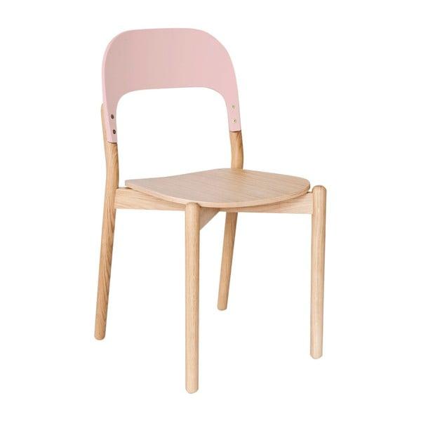 Židle z dubového dřeva s růžovou opěrkou HARTÔ Paula