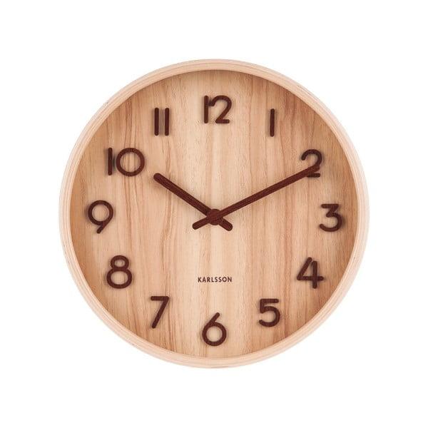 Světle hnědé nástěnné hodiny z lipového dřeva Karlsson Pure Small, ø 22cm