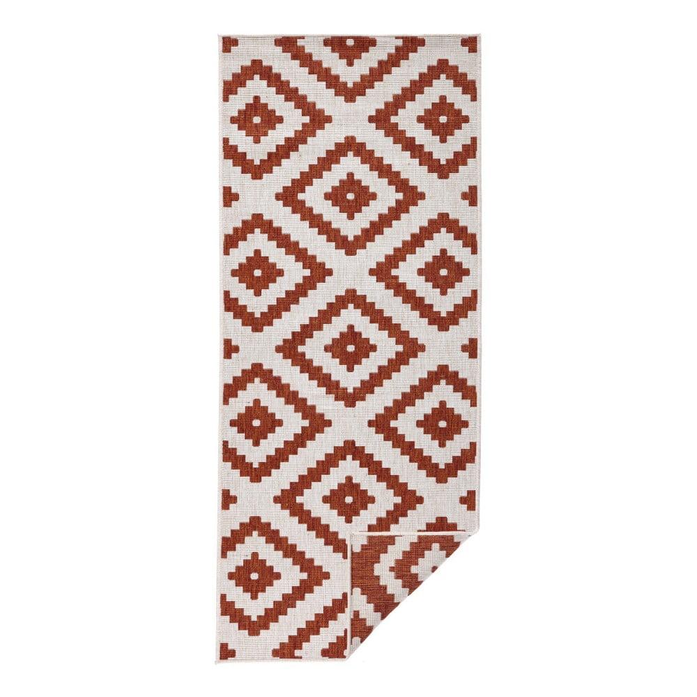Červeno-krémový venkovní koberec Bougari Malta, 80 x 350 cm