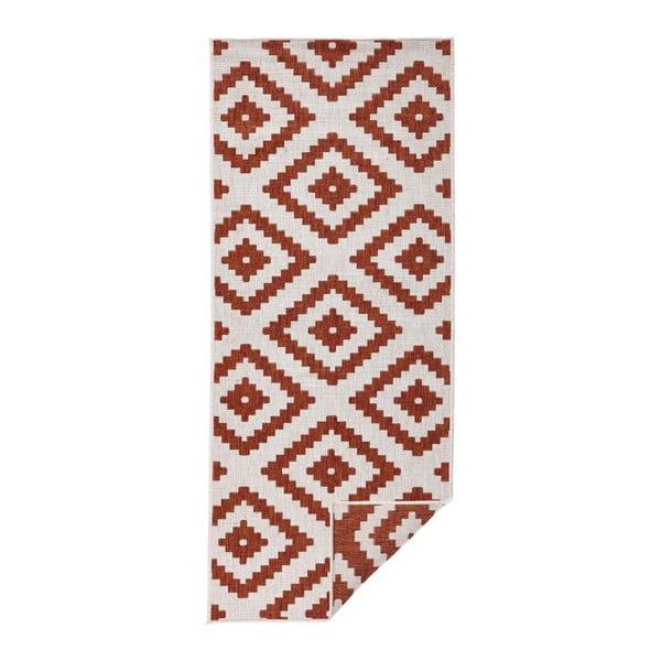 Červeno-krémový venkovní koberec Bougari Malta, 80x350 cm