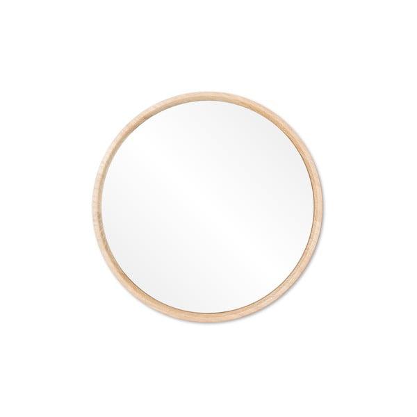 Oglindă de perete cu ramă din lemn masiv de stejar Gazzda Look, ⌀ 22 cm