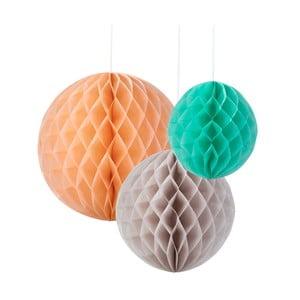 Papírové dekorace Honeycomb Silk, 3 kusy