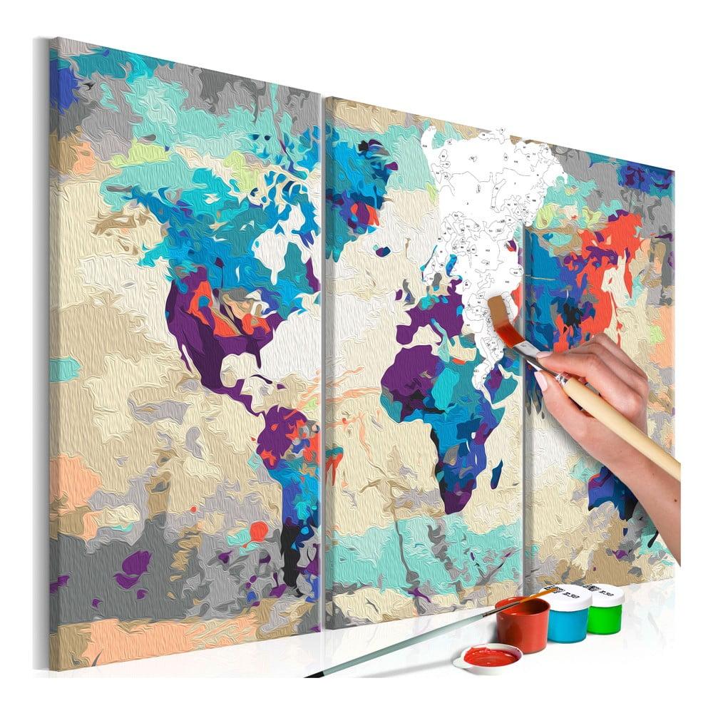 DIY set na tvorbu vlastního třídílného obrazu na plátně Artgeist World Map, 60x40 cm