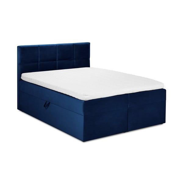 Pat dublu cu tapițerie din catifea Mazzini Beds Mimicry,160x200cm, albastru
