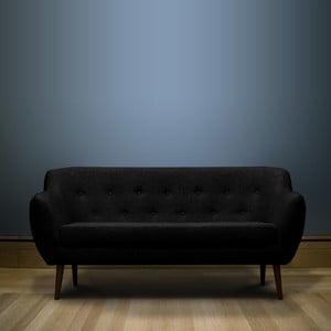 Černá trojmístná pohovka s hnědými nohami Mazzini Sofas Piemont
