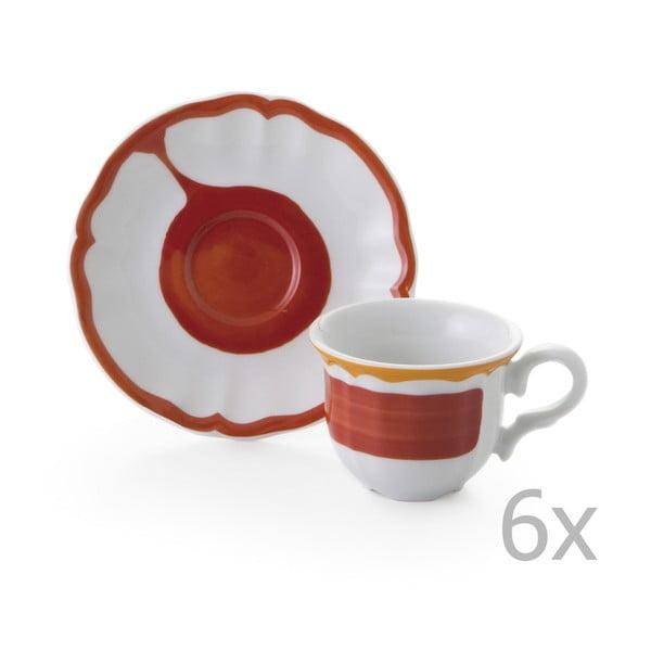 Sada 6 hrnků a 6 talířků Giotto Red