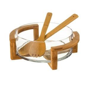 Set skleněné misky a 2 bambusových příborů Unimasa