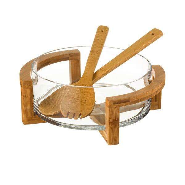 Set sklenenej misky a 2 bambusových príborov Unimasa