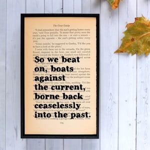 Plakát v dřevěném rámu The Great Gatsby We Beat On