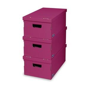 Sada 3 fialových úložných boxů Domopak